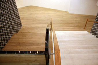 View of stair rail from mezzanine