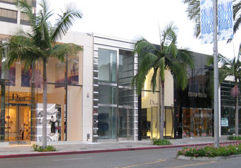 The Rimowa storefront clearly stands out among the high-end shops of Rodeo Drive.